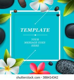 Spa concept background - Zen massage stones with frangipani plumeria flower, vector illustration.