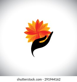 spa concept graphic with woman hand & flower - vector icon. This also represents beauty business, rejuvenation & healing centers, luxury resorts, alternative therapy, recreation, relaxation, leisure