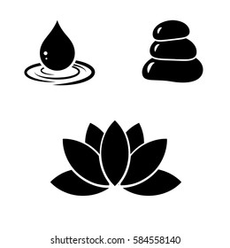 Spa - drop, stone and lotus icon set. Vector art.