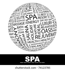 SPA. Globe with different association terms. Wordcloud vector illustration.