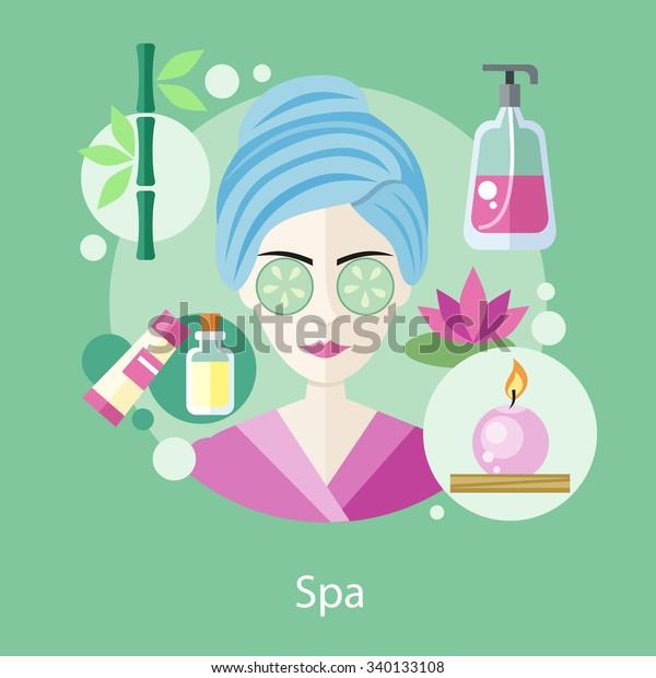 Spa Hair Beauty Salon Concept Flat Stock Vector Royalty Free 340133108
