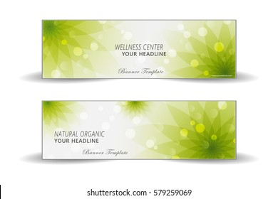Spa and health care banner template with background of natural organic and floral topics.
