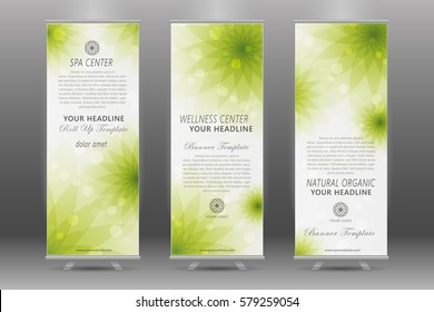 Spa and health care roll up banner template with background of natural organic and floral topics.