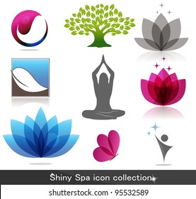 Spa icon collection, beautiful bright colors
