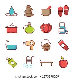 Spa icons pack. Isolated spasymbols collection. Graphic icons element