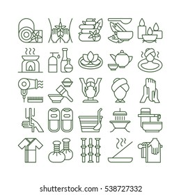 Spa icons set. Spa and massage. Healthcare, beauty and therapy