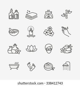 Spa icons. Spa treatments symbols