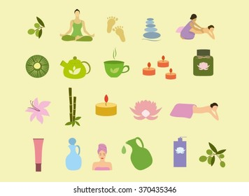 spa massage black white icons silhouette stock vector royalty free