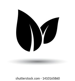 Spa Leaves Icon. Black on White Background With Shadow. Vector Illustration.