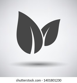 Spa Leaves icon on gray background with round shadow. Vector illustration.