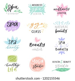 Spa lettering vector beauty calligraphic logotype design with flower sign or leaf symbol illustration handwritten set of floral health care isolated on white background