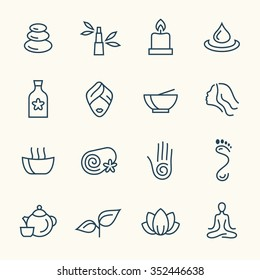 Spa line icon set