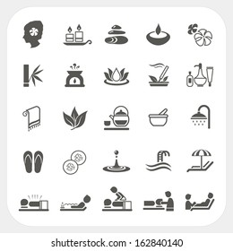 Spa and massage icons set