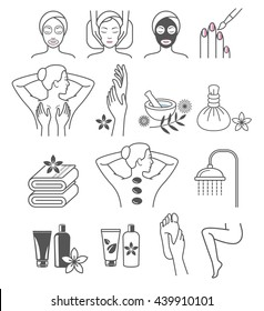 Spa Massage Therapy Skin Care & Cosmetics Services Icons. Vector Illustration.