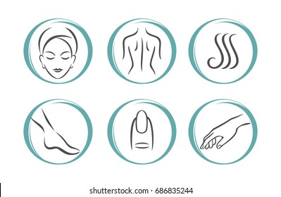 Spa Massage Therapy Skin Care & Cosmetics Services Icons. Vector Illustration. beauty salon