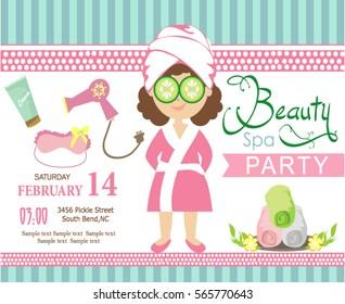 spa party invitation card