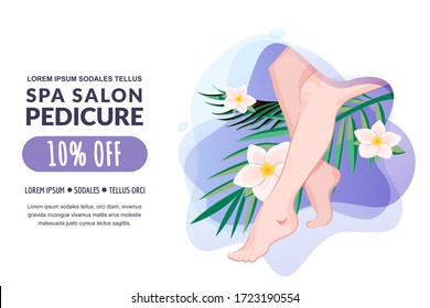 Spa pedicure, feet massage, female body care. Vector flat cartoon illustration. Women legs, palm tropical leave, plumeria flowers on water splash background. Beauty salon banner, poster, coupon design