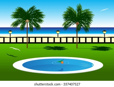 Spa. The pool, a beach and couple of palm trees and birds against the sea and the sky