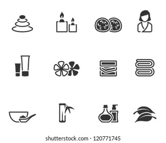 Spa related icon series in single color style