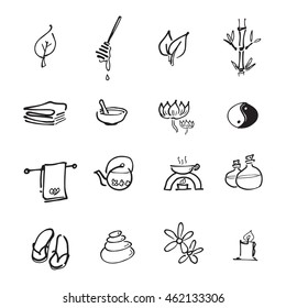 Spa relax service icons set