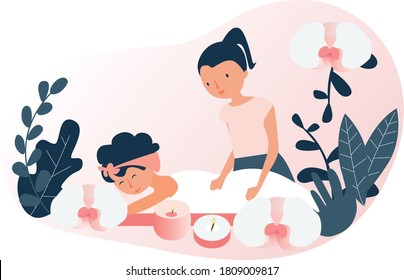 Spa room with candles and flowers. A relaxed woman and another giving massage. Vector flat illustration.