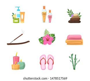 Spa salon attributes flat vector illustrations set. Body care, cosmetology symbols pack. Skincare creams, olive oil and stones. Health resort, therapy procedure accessories. Scented candles and towels