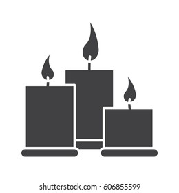 Spa salon candles glyph icon. Silhouette symbol. Aromatherapy. Negative space. Vector isolated illustration