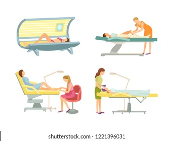 Spa salon epilation and tanning procedure isolated icons set vector. Sunroom and tan gaining, pedicuring painting toe of woman, cosmetician face care
