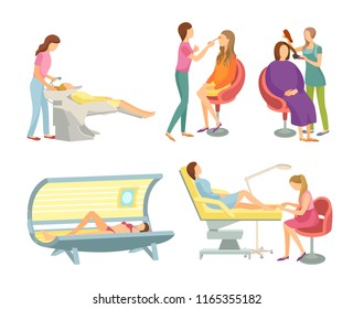 Spa salon hair wash and hairstyling set isolated icons set vector. Body wrap and tanning, gaining of tan in solarium sunroom. Pedicure toe nails care