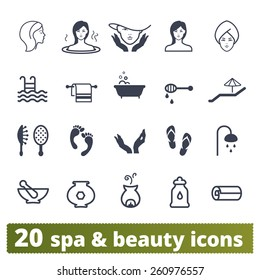 Spa salon icons: vector set of recreation, wellness and beauty signs.