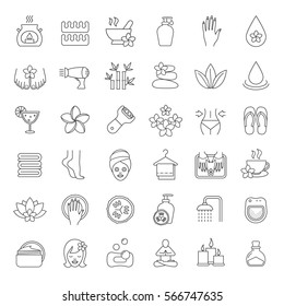 Spa salon linear icons set. Aroma therapy, stones massage, face cream jar, towels, flowers, foot file, cucumber mask, shower, candles, oil. Thin line contour symbols. Isolated vector illustrations