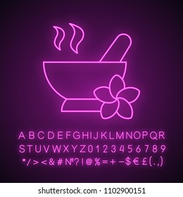 Spa salon mortar and pestle neon light icon. Aromatherapy. Glowing sign with alphabet, numbers and symbols. Vector isolated illustration