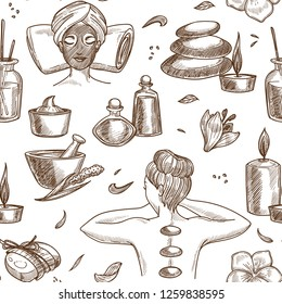 Spa salon services sketch seamless pattern woman beauty procedure girl with mask and towel on pillow pebble and candle oil in bottles and creams massage with hot stones aroma plants and soap vector.