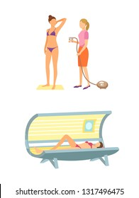 Spa salon solarium, tanning procedure by using special spray and liquids. Isolated icon of woman lying in sunroom, sunbathing process icon vector