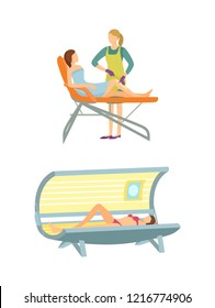 Spa salon tanning and epilation isolated icons set vector. Depilation with wax, hair removal on legs, solarium sunroom relaxation and color changing