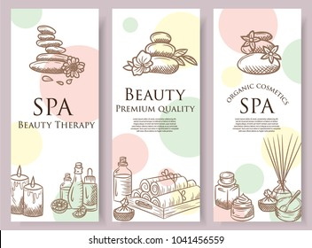 Spa sketch icon set. Beauty vintage hand drawn illustrations. Health and beauty objects. Creative flyer template