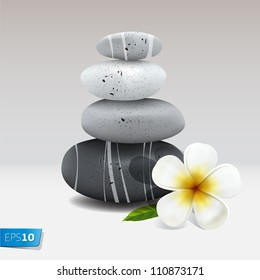 Spa still life with frangipani flower, vector Eps10 illustration.
