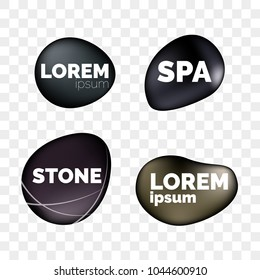 SPA stones 3D isolated realistic icons on transparent background for logo design. Zen relaxation and massage black stone pebbles templates for SPA massage salon or jewelry decoration