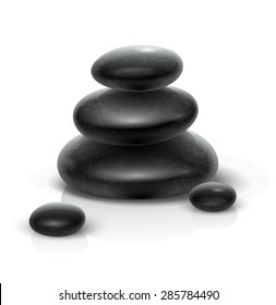 Spa stones for medical therapy, beauty and healthcare, massage and relax procedures, black heap. Eps10 vector illustration. Isolated on white background