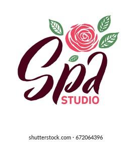 SPA Studio Vector Logo. Stroke Pink Rose Flower Illustration. Brand Lettering.