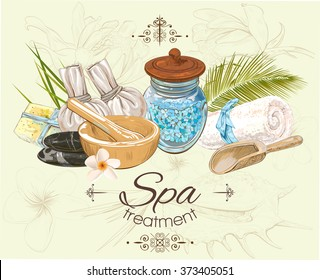 Spa treatment banner on graphic background.Design for cosmetics, store,spa and beauty salon, organic health care products. Can be used as logo design. Vector illustration.