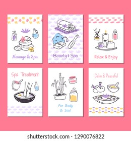 Spa treatment cards background. Design for cosmetics store spa and beauty salon, organic health care products. Cosmetic aromatherapy body health care vector illustration.