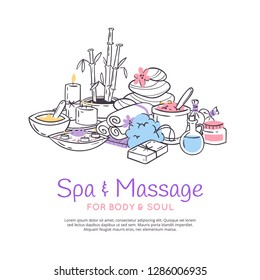 Spa treatment massage salon poster background Design for cosmetics store spa and beauty salon, organic health care products. Cosmetic aromatherapy body health care vector illustration.
