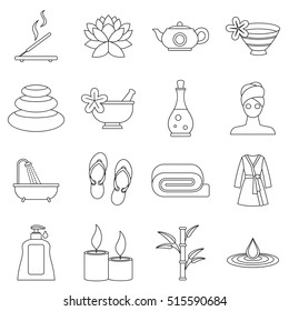 Spa treatments icons set. Outline illustration of 16 spa treatments vector icons for web