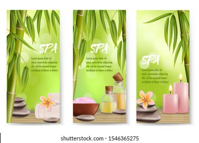 Spa vector banner template set. Realistic bamboo stalks with leaves, salt, stones, massage oil, aroma candles and flowers. Spa beauty wellness invitation flyer or advertising poster.