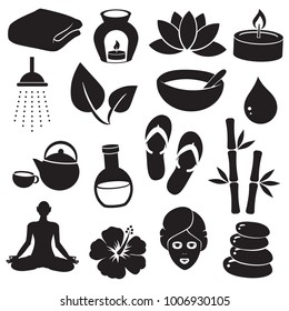 Spa, wellness vector icon set.