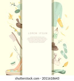 Spa Welness Center Advertising banner,Sale poster.Herbal Treatment Concept Leaflet.Face,Body Feet Bath,Creams,Lotions Broadsheet.Skin care for health,wellbeing, beauty salon.Flat vector illustration