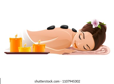 spa women relax vektor aromatic candles oriental medicine massage