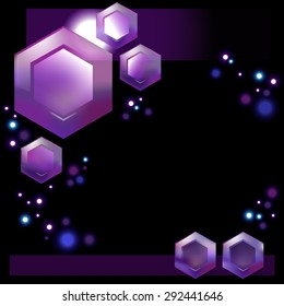 space abstract geometric hexagons