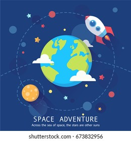 Space adventure banner. Cartoon postcard with planets, rocket and stars. Astronomic symbols for scrap-booking, design projects, invitations and advertisement